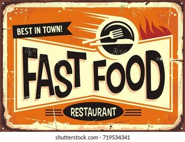 Fast food restaurant vintage tin sign design.