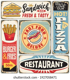 Fast food restaurants and diners retro signs collection. Food ads. Burger, pizza, french fries, sandwich and hot dogs posters and food vector design elements.