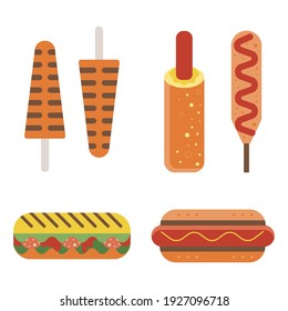 Fast food sandwiches icons in flat design. Hod-dog with sausage and mustard in bun, czech-style hotdogs, american corn-dog on stick, waffle sticks and salami italian Panini.