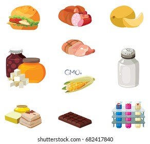 Fast food, sausages, heavy foods, fast carbohydrates, smoked products, GMOs, salt, refractory fats, chocolate, chemical additives - harmful products.