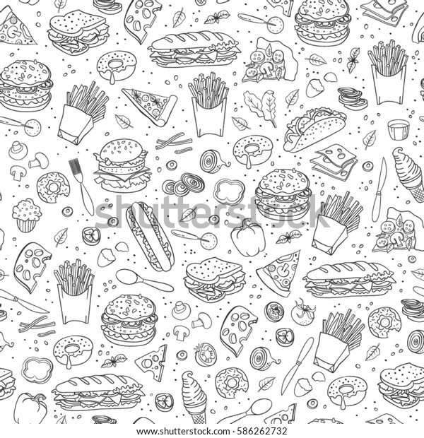 Fast food. Seamless background. Vector fast food pattern.