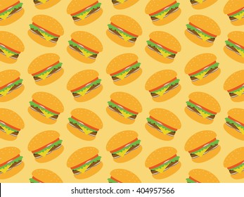 Fast food seamless pattern. Burger sandwich set. Decorative elements for your packing design.