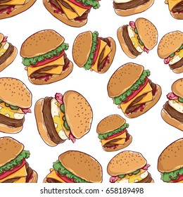fast food seamless pattern with cheese burger and burger with egg on white background