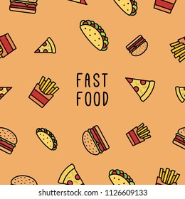 Fast Food Seamless Pattern Design Icon Vector Symbol Fast Food