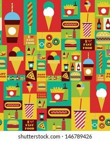 fast food seamless pattern design. vector illustration