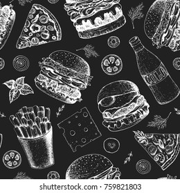Fast food seamless pattern. Hand drawn vector illustration. Menu design with pizza, burgers and french fries. Engraved style image.