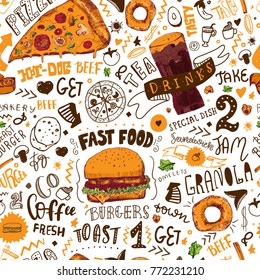 Fast Food seamless pattern in Hand Drawn Doodle Style with sketh Objects on Junk kitchen Theme with lettering. Vector illustration.