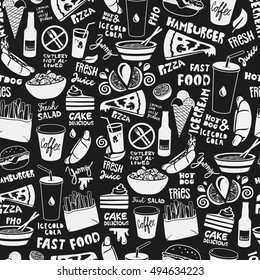 Fast food seamless pattern made of doodle food and drink illustrations. White on black background.