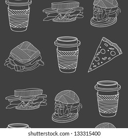 Fast food seamless pattern on black background