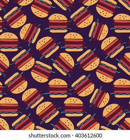 Fast food seamless pattern. sandwich set. Decorative elements for your packing design.