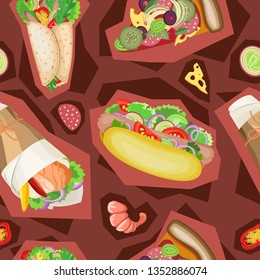 Fast food seamless pattern in the style of Zine culture. Burgundy tones background