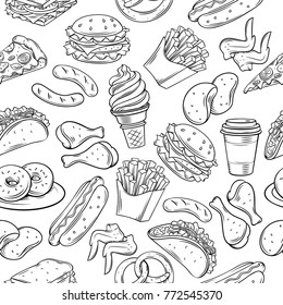 Fast food seamless pattern. Vector hand background with snacks, hamburger, fries, hot dog, tacos, coffee, sandwich, ice cream in sketch style.