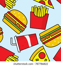 fast food seamless pattern vector file