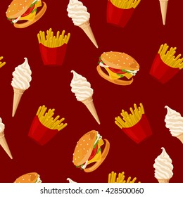 Fast food. Seamless vector pattern of cartoon food icons. French fries, burger and  vanilla ice cream cone. Hand-drawn vector illustration of popular junk food. eps10. Minimalistic style.