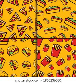 Fast food semaless pattern set on yellow background. Vibrant colorful meal vector pattern in flat style. Fastfood seamless pattern for wrapping, texture and print. Background for cafe and restaurant.