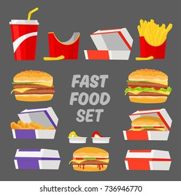 Fast Food Set. Burger, Fries, Cola, Nuggets, Burger and Nuggets in Box. Cartoon Style Vector Illustration