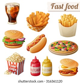 Fast food. Set of cartoon vector food icons isolated on white background. Ketchup, mustard, glass of cola, french fries, hamburger, sweet potato fries, burger with fried egg, pop corn, hot dog, pizza