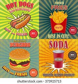 Fast food. Set of cartoon vector food icons . Ketchup, mustard, glass of cola, french fries, hamburger, hot dog.Corn food, Pop art stile. Vector illustration.