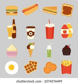 Fast food set cute characters face vector illustration Funny emoji concept