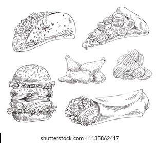 Fast food set hand drawn vector monochrome illustration. Pizza slice and tacos, chips and chicken wings, double burger and doner kebab sketch style