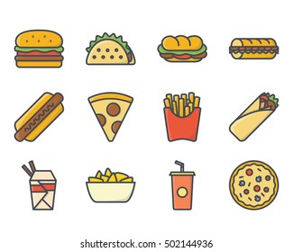 Fast Food Set icon Colored