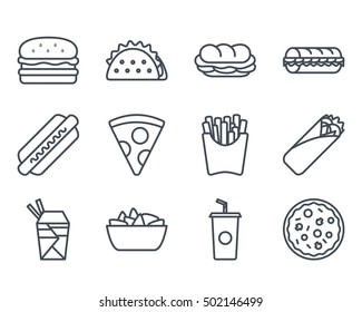 Fast Food Set Icon outllined