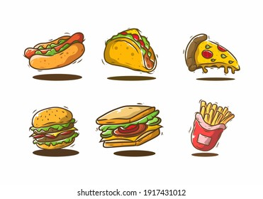 Fast food set illustration drawing design