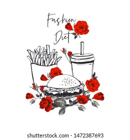 Fast food set and roses flowers and fashion diet skript. Fashion fast food stilylish modern textile brand t-shirt design. Vector fashion sketch. White background. Beautiful vintage fabric print.