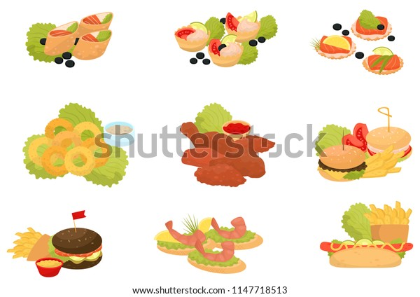 Fast food set, traditional fast food meals, canapes for banquet vector Illustrations on a white background