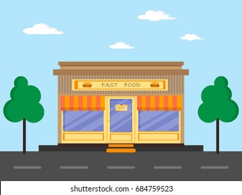 Fast food shop in flat design style