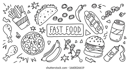 Fast  food. Simple doodle outline style. Vector stock black and white illustration.