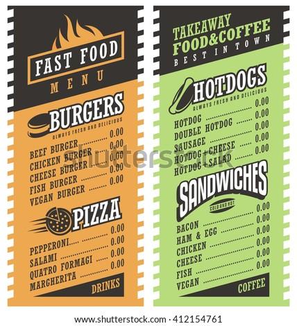 fast food simple menu design template のベクター画像素材
