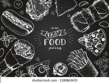 Fast food sketch collection. Vector illustration. Junk food set. Engraved style illustration. Fast food top view frame. Chalkboard style.
