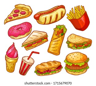 Fast food sketch, sandwiches, burgers, snacks and drinks, vector isolated icons. Fastfood menu elements, pizza, potato fries, cheeseburger, Mexican taco and hot dog, donut, ice cream dessert and soda