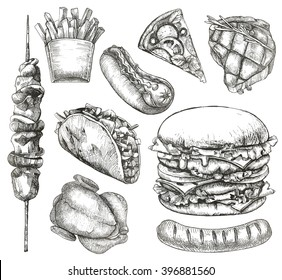 Fast food, sketches, hand drawing, vector set
