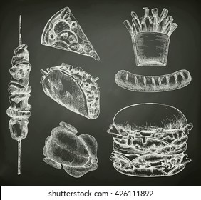 Fast food, sketches on the chalkboard vector set