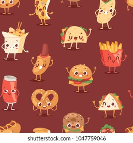 Fast food smile vector cartoon expression characters of hamburger or cheeseburger with fast-food emotion of burger or hot dog emoticon icons and soda drink emoji seamless pattern background
