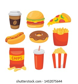Fast food snack and drink vector set illustration