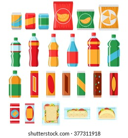 Fast food snacks and drinks flat icons. Vending machine with chip. Vector illustration
