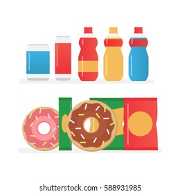 Fast food snacks and drinks flat vector icons
