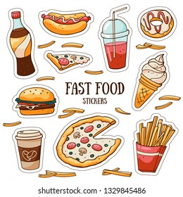 Fast food stickers set on white background. Vector collection of hand drawn stickers. Doodle meals and drinks: hamburger, pizza, soda, french fries, hot dogs, ice cream, donut.