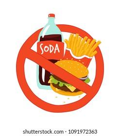 Fast food stop sign. Vector illustration.