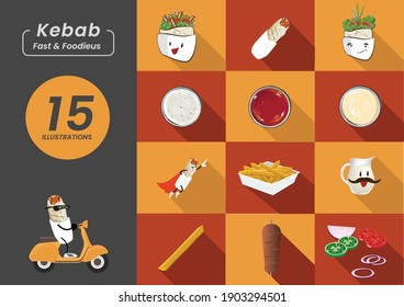 Fast Food Street Lunch Meal or Dinner Cartoon Vector Icons. Hero Superman Shish Kebab on a Bike, Tortilla Wrap and Bread, Sauces Mayo Ketchup and Yoghurt Ayran with French Fries and Salad. Flat Style.