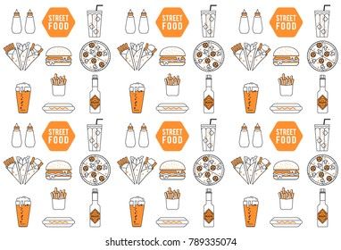 Fast food, street food Parchment paper, food icons and element.Editable vector illustration file.