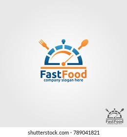 Fast Food is a stylish Fast Food Restaurant or cafe Logo with serving platter & speed meter concept