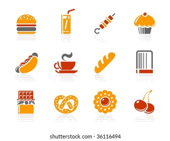 Fast food, Sweeties and Bakery icons. Vector icon set. Three color icons.