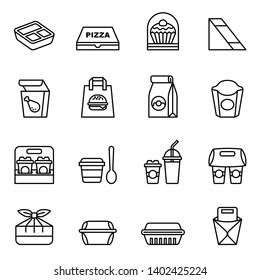 Fast food. Take away. Package icons for delivery. Thin line style stock vector.