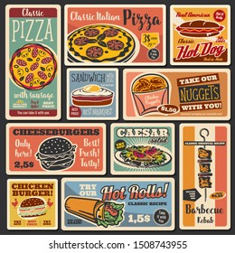 Fast food takeaway snacks, hot dogs and burgers retro posters. Vector fastfood hamburger and cheeseburger sandwich, pizza and chicken nuggets, caesar salad and egg sandwich