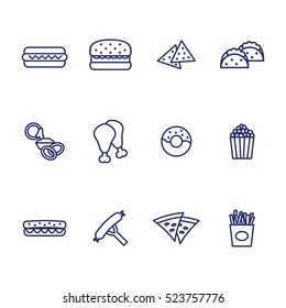 Fast food thin line icon set. Vector illustration. Vector icons set.