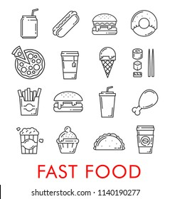 Fast food thin line icons of burgers, sandwiches or pizza and ice cream. Vector isolated Mexican tacos or burrito, chocolate donut or soda and chicken grill leg or popcorn for fastfood restaurant menu